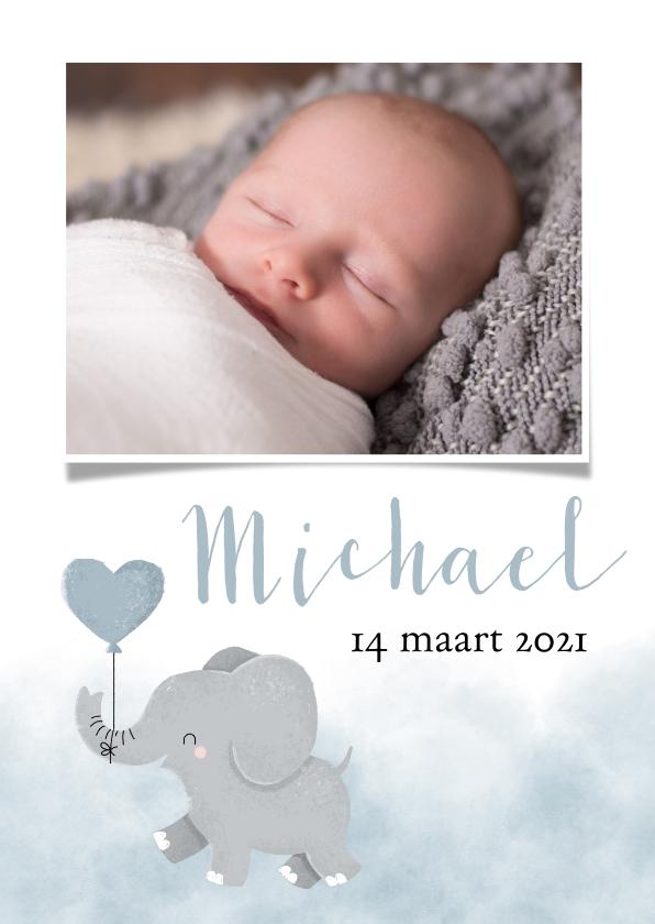 Geboortekaartjes - Geboortekaartje voor een jongen met olifantje en waterverf