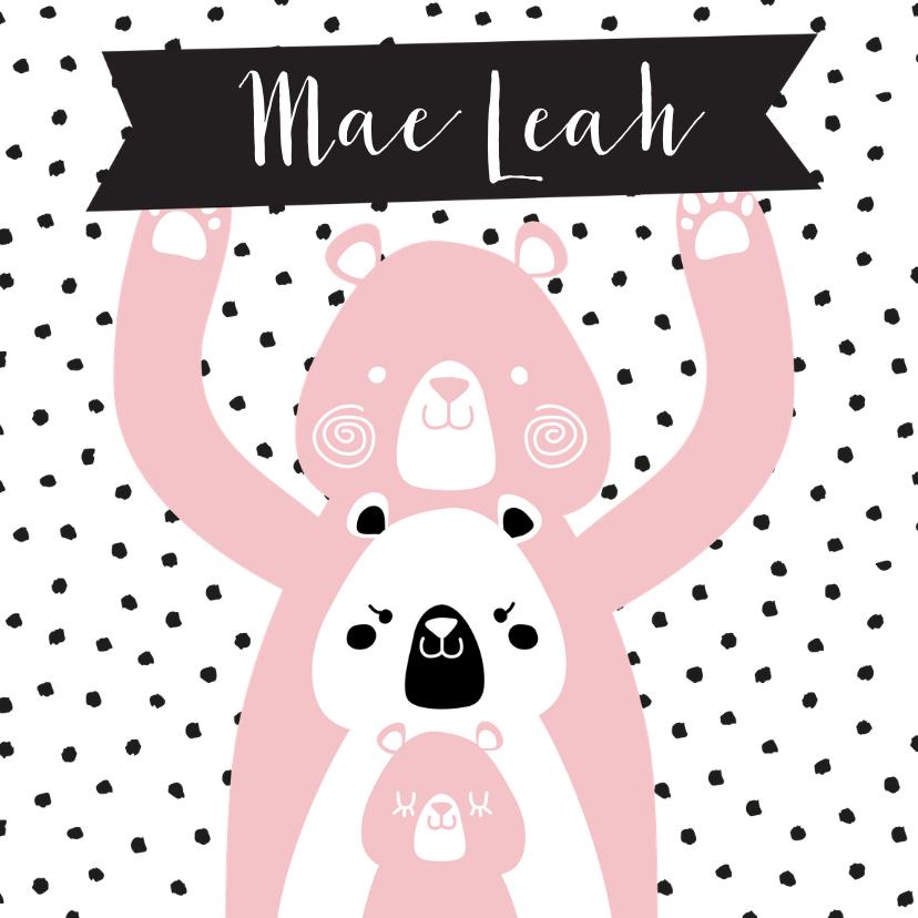 Geboortekaartjes - Geboortekaartje voor meisje met beren en naambordje