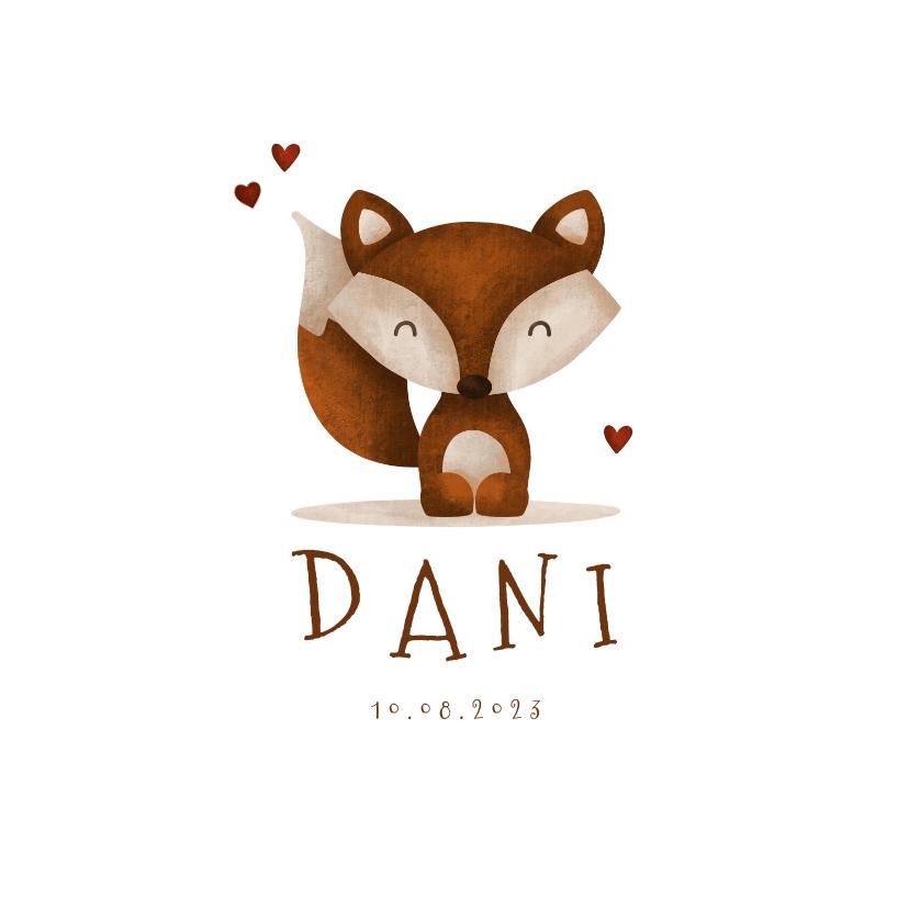 Geboortekaartjes - Geboortekaartje vos met hartjes lief