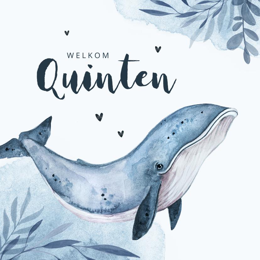 Geboortekaartjes - Geboortekaartje walvis blauw water hartjes waterverf