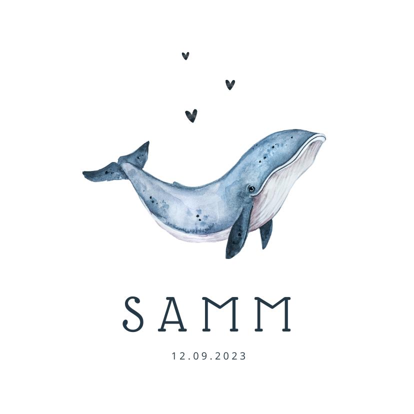 Geboortekaartjes - Geboortekaartje walvis hip illustratie eenvoudig