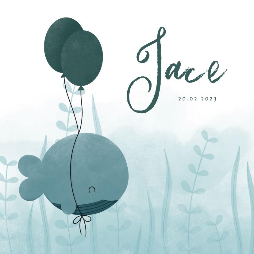 Geboortekaartjes - Geboortekaartje walvis met ballonnen en waterverf