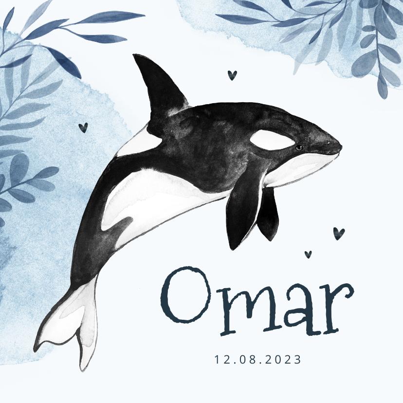 Geboortekaartjes - Geboortekaartje walvis orka water zee waterverf
