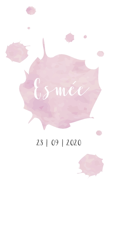 Geboortekaartjes - Geboortekaartje watercolor roze brush