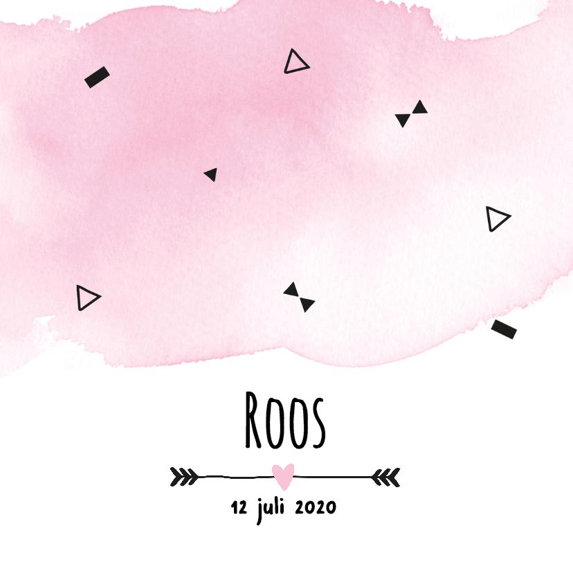 Geboortekaartjes - Geboortekaartje watercolour Roos