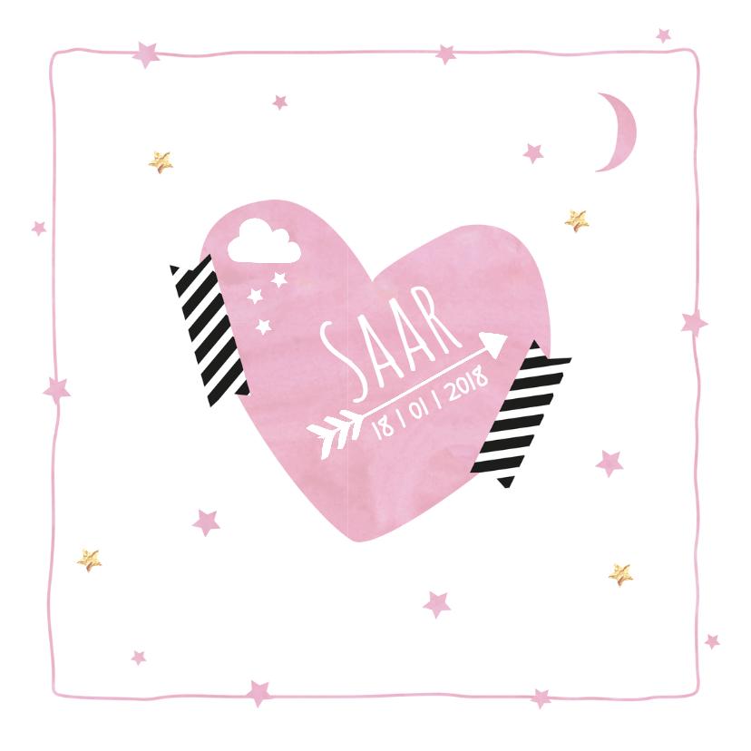 Geboortekaartjes - Geboortekaartje waterverf hart S