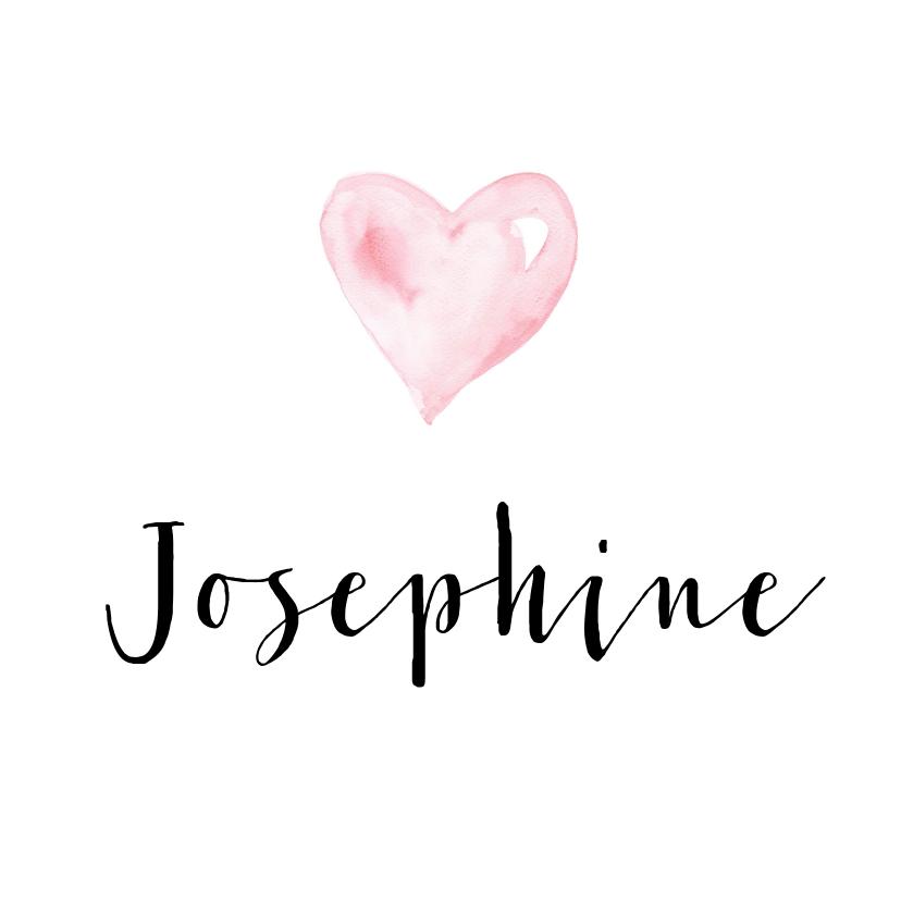 Geboortekaartjes - Geboortekaartje waterverf hartje Josephine