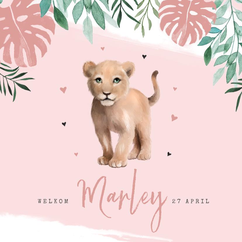 Geboortekaartjes - Geboortekaartje waterverf leeuwtje jungle botanisch meisje