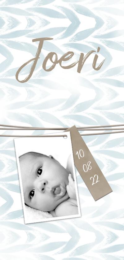 Geboortekaartjes - Geboortekaartje waterverf met label voor jongen