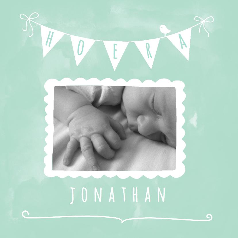 Geboortekaartjes - Geboortekaartje waterverf mint