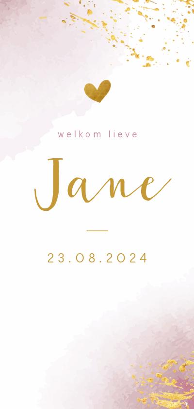 Geboortekaartjes - Geboortekaartje waterverf roze met goudspetters