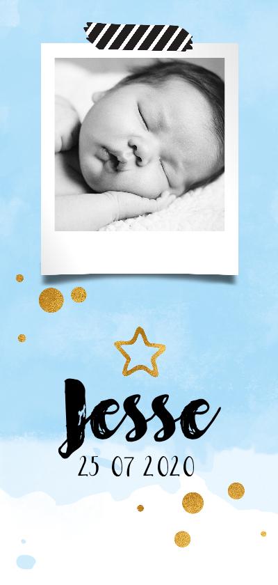 Geboortekaartjes - Geboortekaartje waterverf sky ster blue
