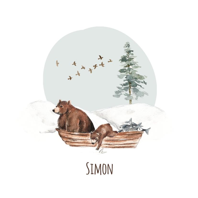 Geboortekaartjes - Geboortekaartje winter beren in een bootje