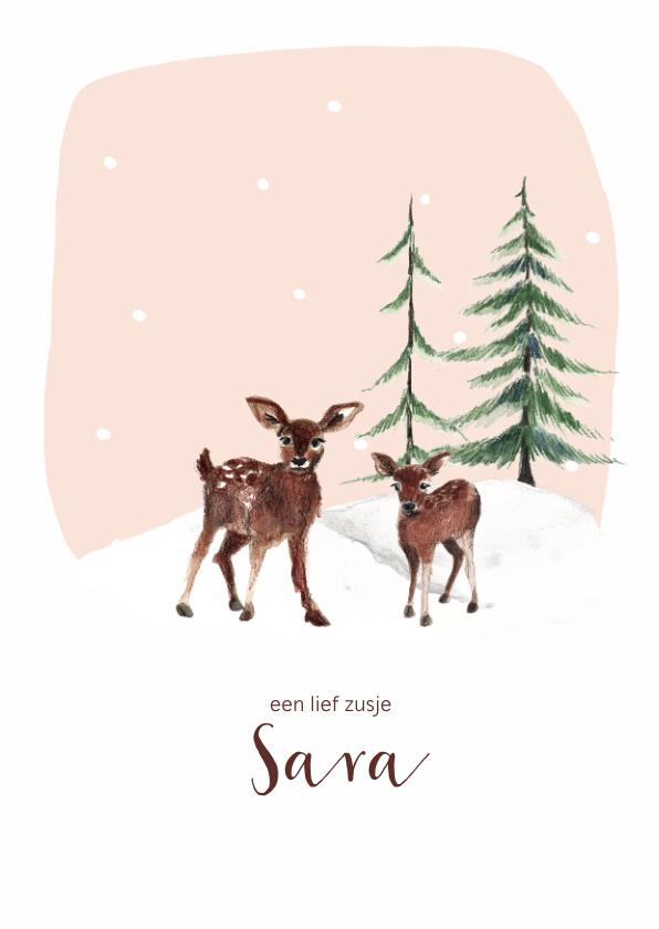 Geboortekaartjes - Geboortekaartje winter hertjes in de sneeuw en dennenbomen