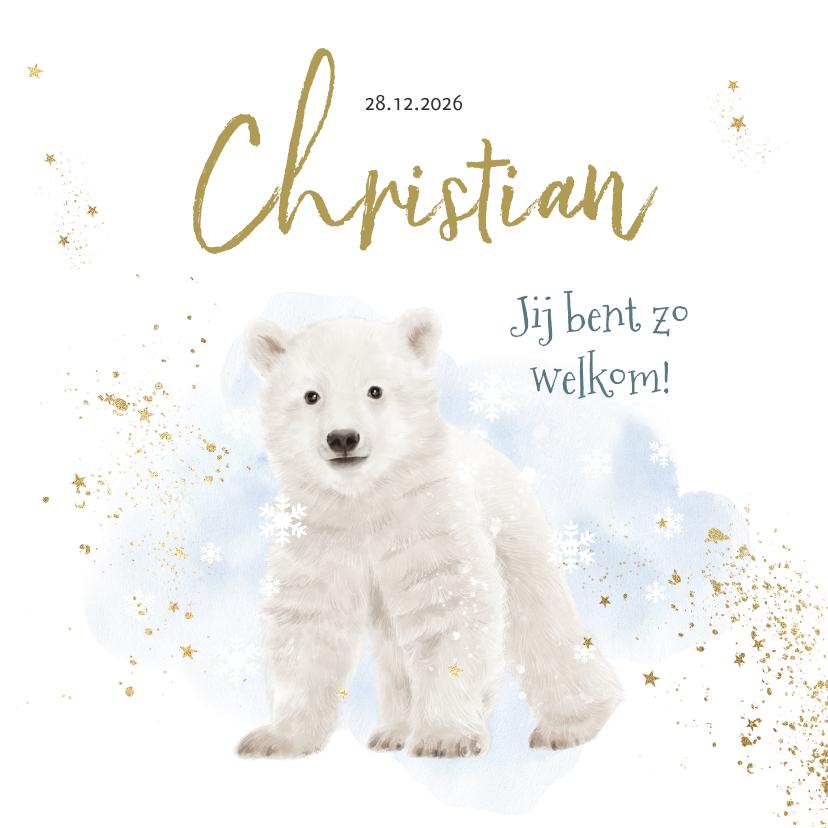Geboortekaartjes - Geboortekaartje winter ijsbeer watercolour blauw goudlook
