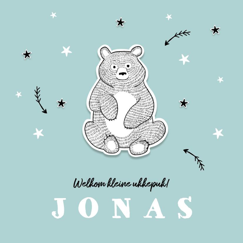 Geboortekaartjes - Geboortekaartje winter met beer en sterren
