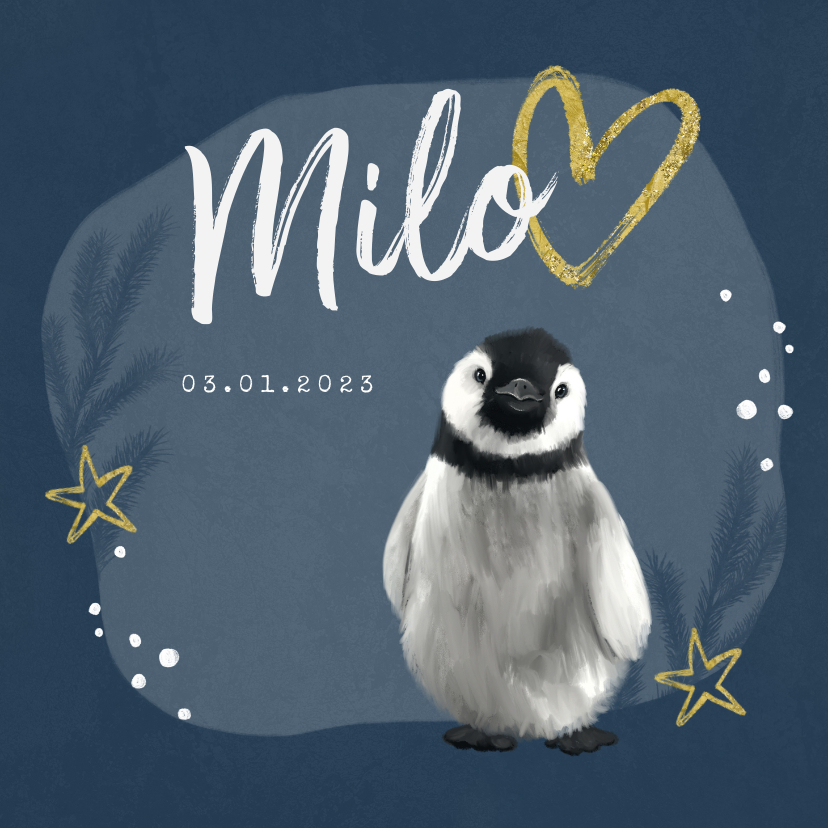 Geboortekaartjes - Geboortekaartje winter pinguin goud sterren hartje