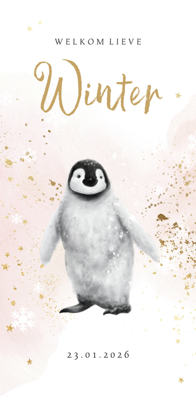 Geboortekaartjes - Geboortekaartje winter pinguïn watercolour spetter goudlook
