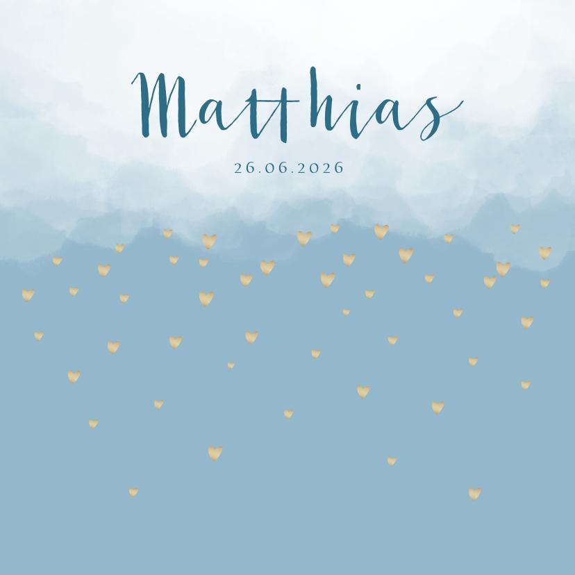 Geboortekaartjes - Geboortekaartje wolken hartjes goudlook blauw