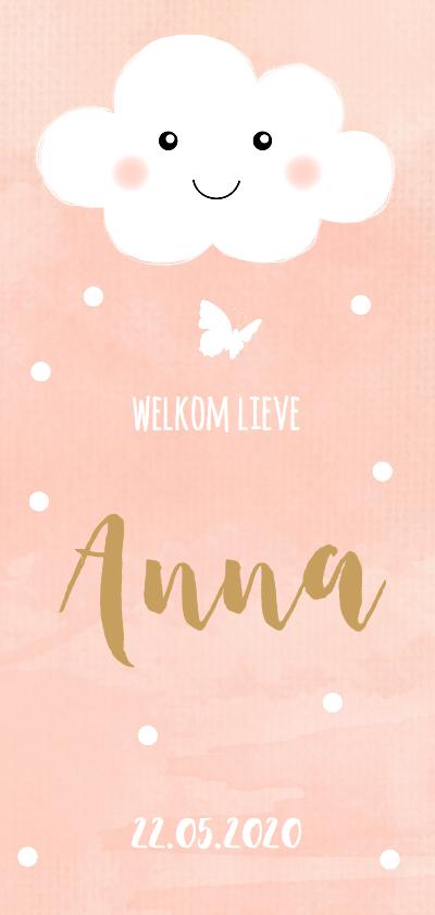 Geboortekaartjes - Geboortekaartje wolkje watercolour roze