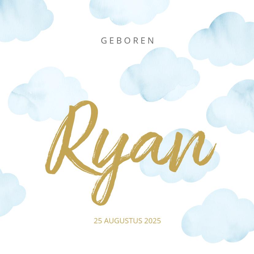 Geboortekaartjes - Geboortekaartje wolkjes aquarel jongen