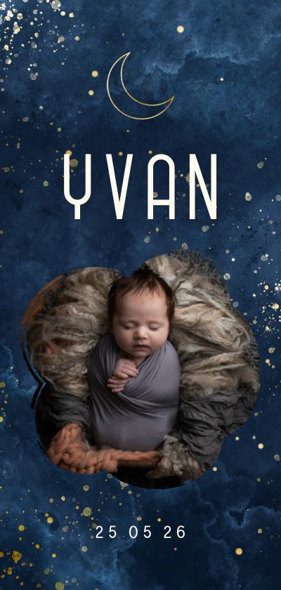 Geboortekaartjes - Geboortekaartje wolkjes met foto en gouden maan
