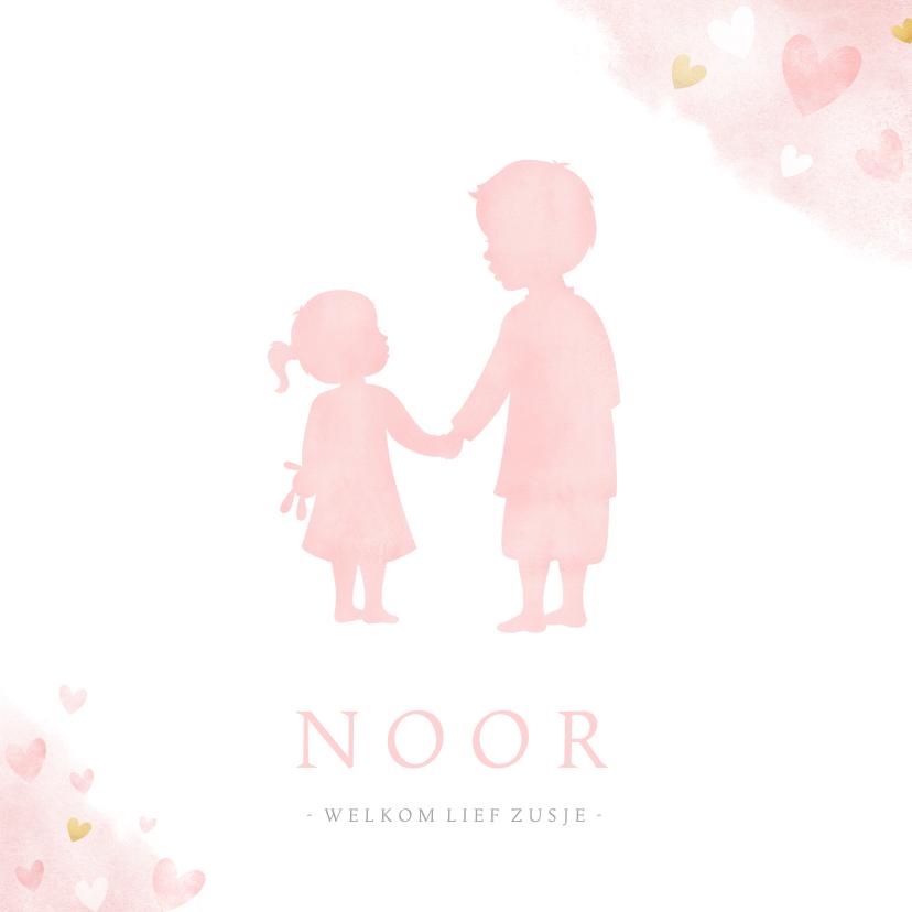 Geboortekaartjes - Geboortekaartje zusje en broer - waterverf met roze hartjes