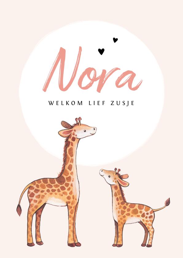 Geboortekaartjes - Geboortekaartje zusje lief met giraf illustratie