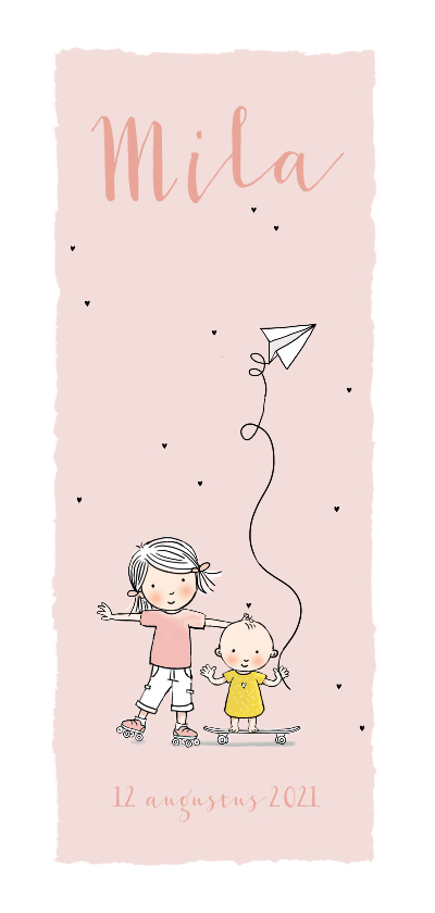 Geboortekaartjes - Geboortekaartje zusje op skate