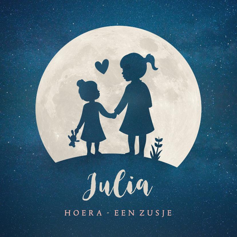 Geboortekaartjes - Geboortekaartje zusje - silhouet hand in hand met maan