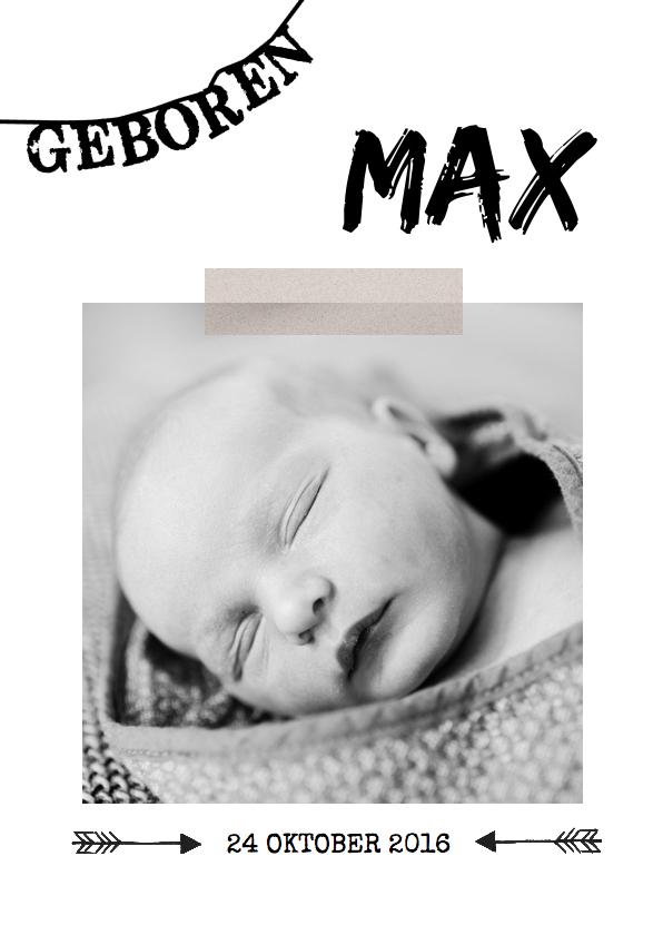 Geboortekaartjes - Geboortekaartje zwart wit Max