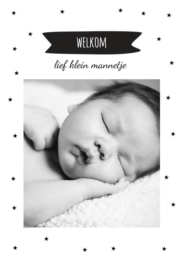 Geboortekaartjes - Geboortekaartje zwart-wit sterretjes