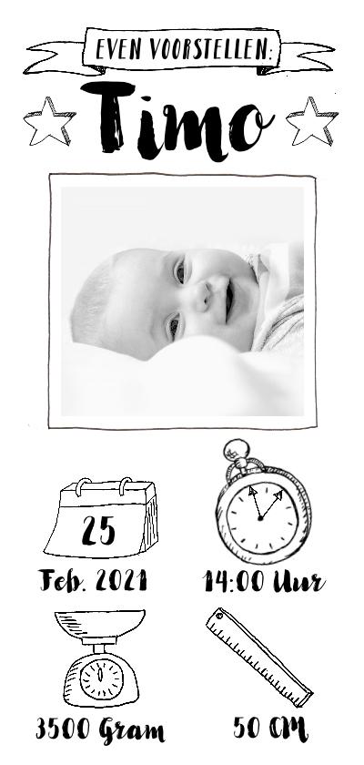 Geboortekaartjes - Geboortekaartje zwartwit icoontjes en foto