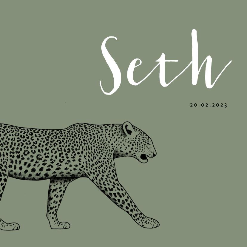 Geboortekaartjes - Geboortekaartje zwart/wit leopard met spetters