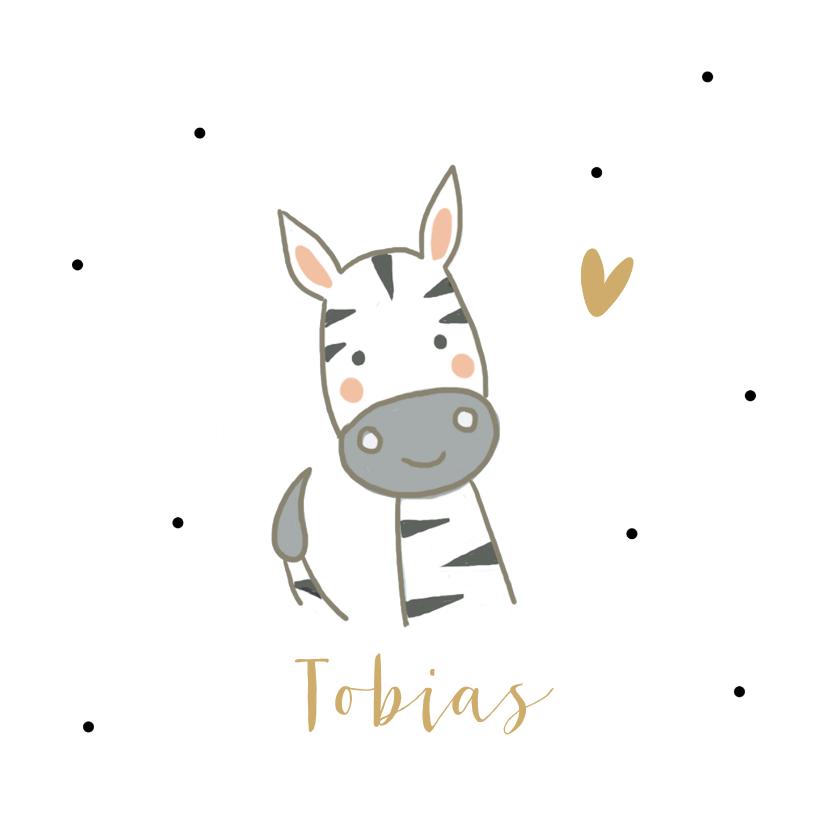 Geboortekaartjes - Geboortekaartjes - Zebra met hartje