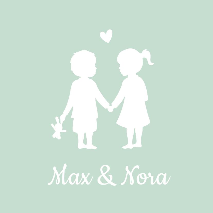 Geboortekaartjes - Geboortkaartje tweeling silhouet jongen meisje hand in hand