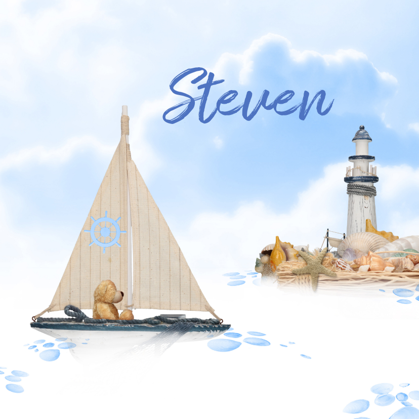 Geboortekaartjes - Geboren beer en zeilboot op zee