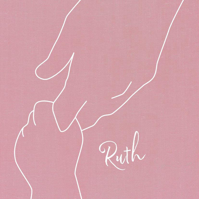 Geboortekaartjes - Geboren meisje illustratie handen