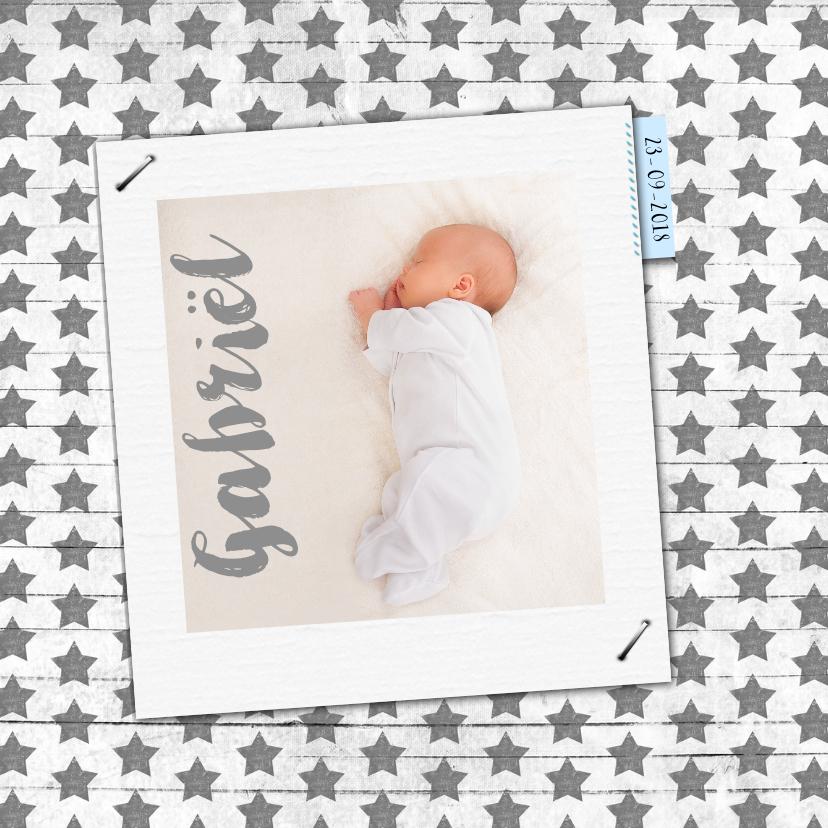 Geboortekaartjes - Geboren sterren hout en foto a