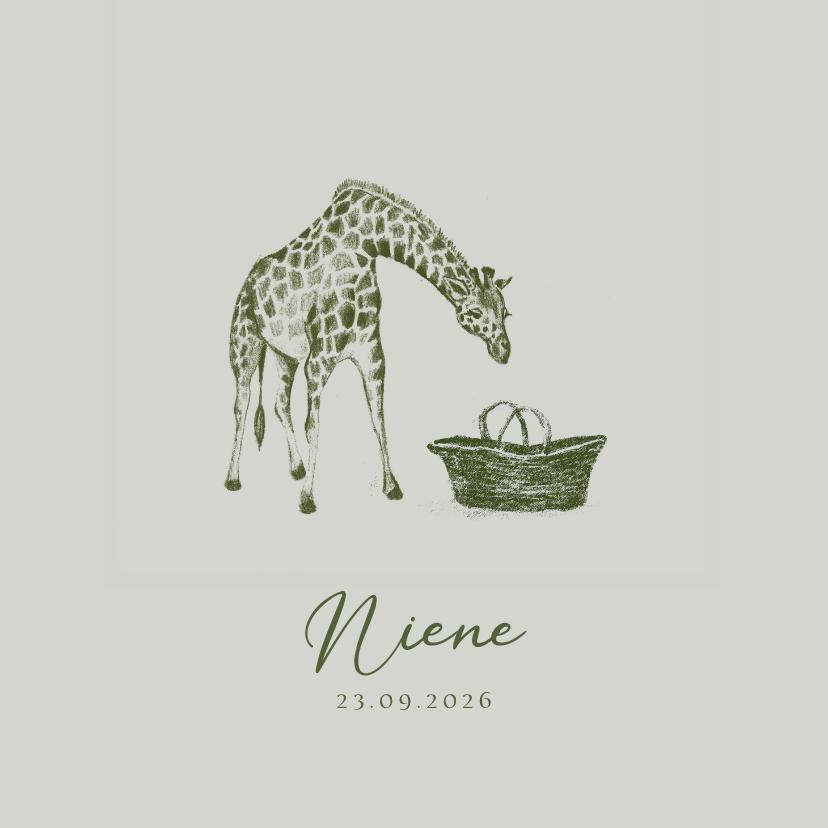 Geboortekaartjes - Groen geboortekaartje handgetekend jungle giraffe