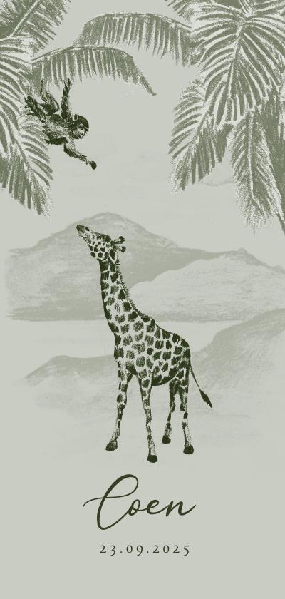 Geboortekaartjes - Groen geboortekaartje jungle handgetekend giraf aapje