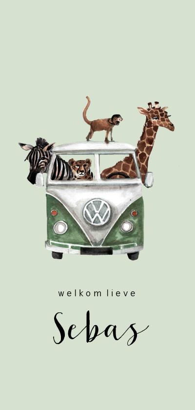 Geboortekaartjes - Groen jungle geboortekaartje met een bus vol diertjes
