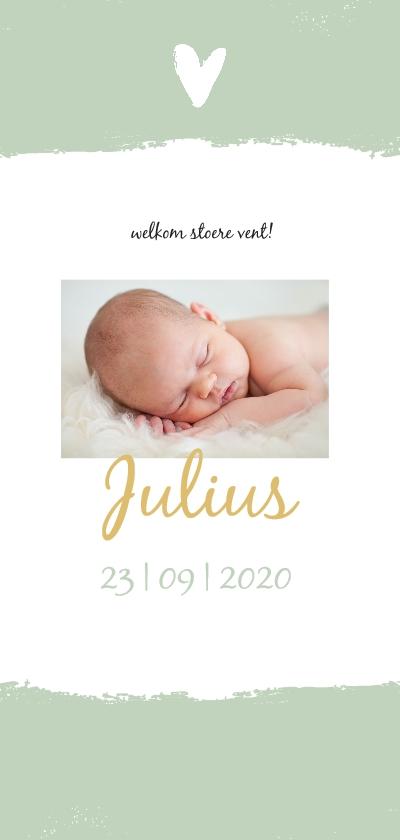 Geboortekaartjes - Groene brush strook en foto