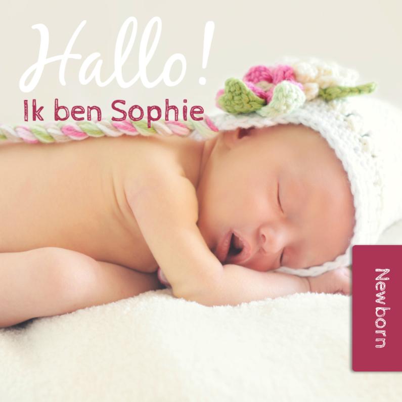Geboortekaartjes - Hallo ik ben - Donker Roze - DH