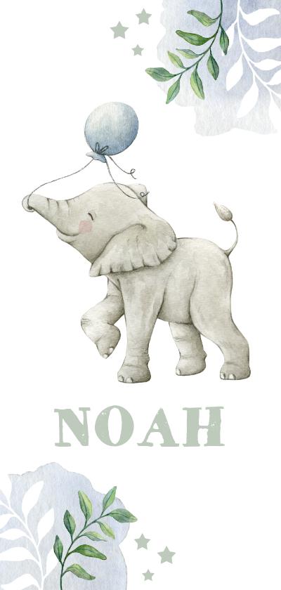 Geboortekaartjes - Hip botanisch geboortekaartje jongen met olifantje en ballon