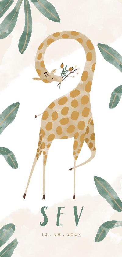 Geboortekaartjes - Hip geboortekaartje giraf met bladeren unisex