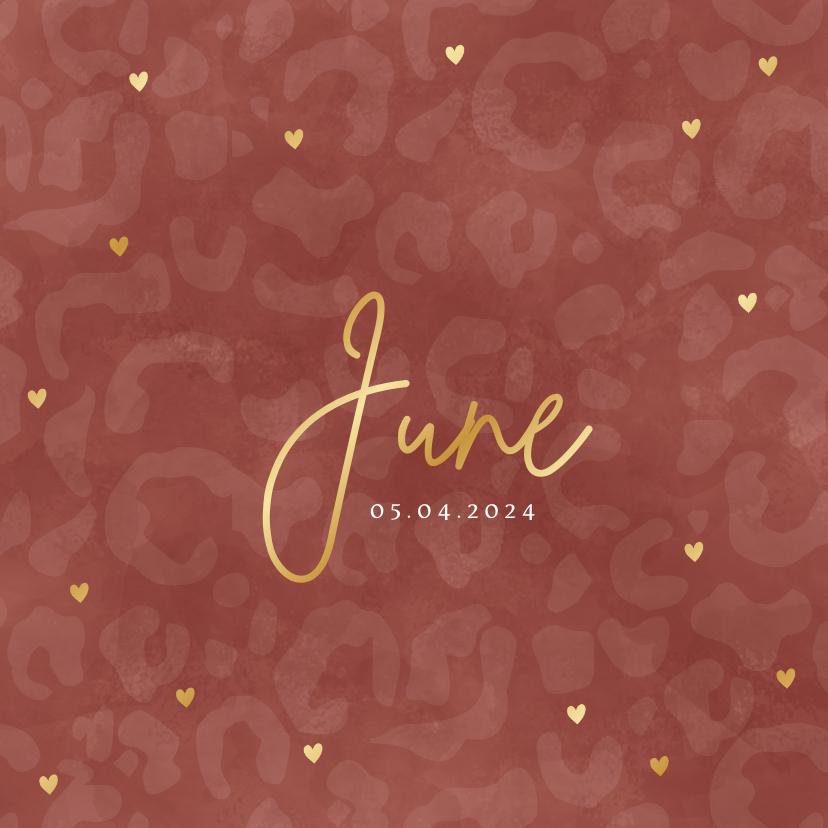 Geboortekaartjes - Hip geboortekaartje meisje met panterprint en gouden hartjes