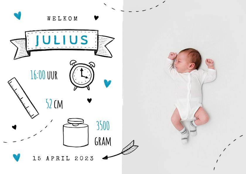 Geboortekaartjes - Hip geboortekaartje met doodle illustraties jongen foto