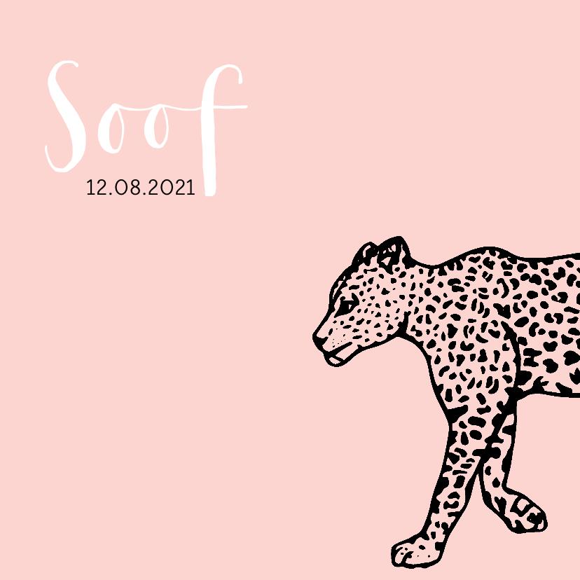 Geboortekaartjes - Hip geboortekaartje met een luipaard