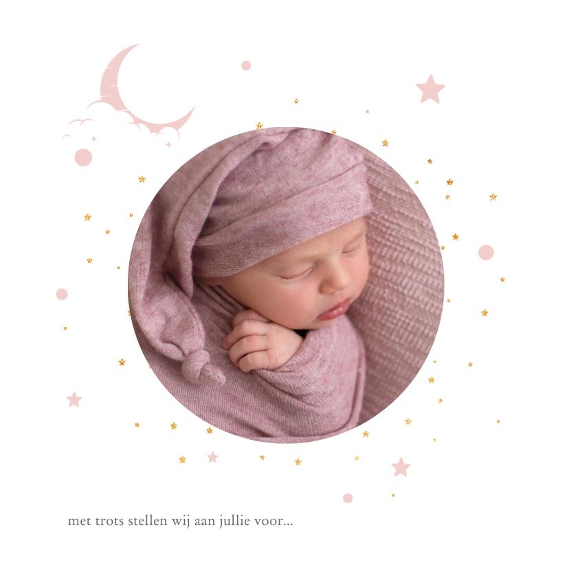 Geboortekaartjes - Hip geboortekaartje met foto en goudlook sterren en maan